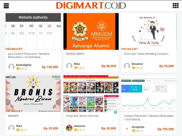 Produk digimart, website freelancer Terbaik di Indonesia